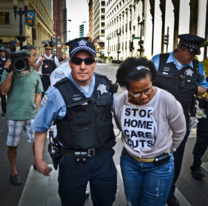 Gilda Brown, SEIU Healthcare Member, arrested while protesting home care cuts
