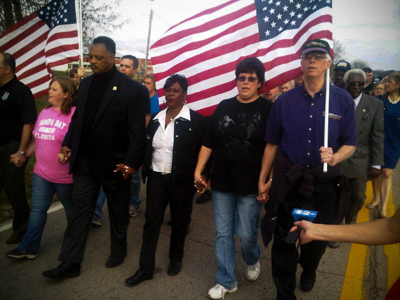 President Keith Kelleher joins Rev. Jesse Jackson and others in protesting the loss of 170 American jobs to China.