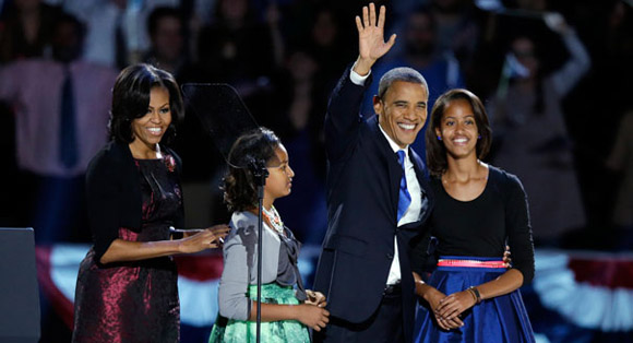 The Obama family at Chicago's McCormick Place on November 2nd.