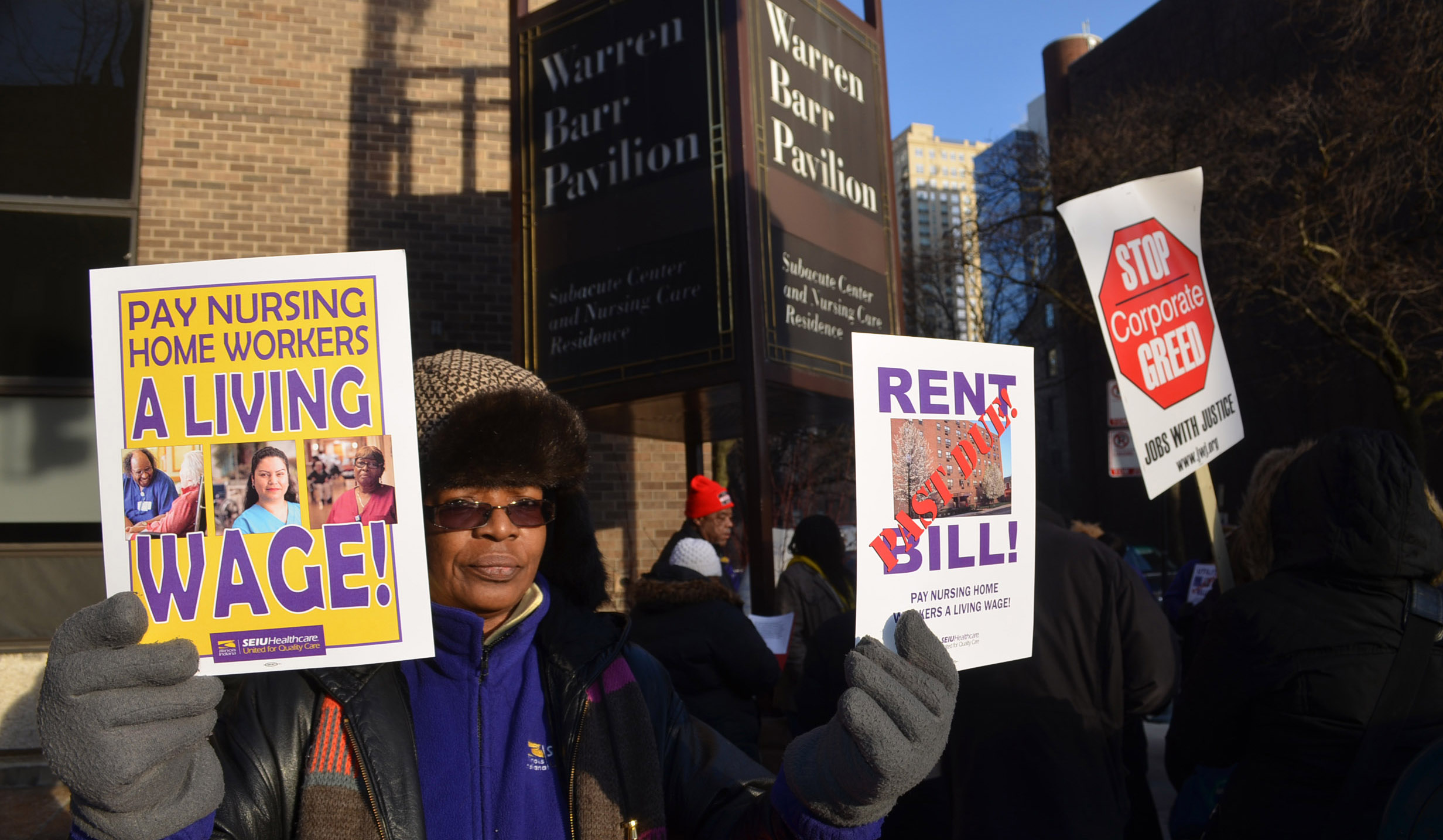 Workers demonstrate for living wages at Warren Barr Pavilion nursing home in Chicago.