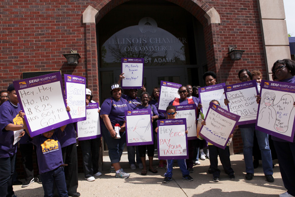 Members rallying at the Illinois Chamber of Commerce