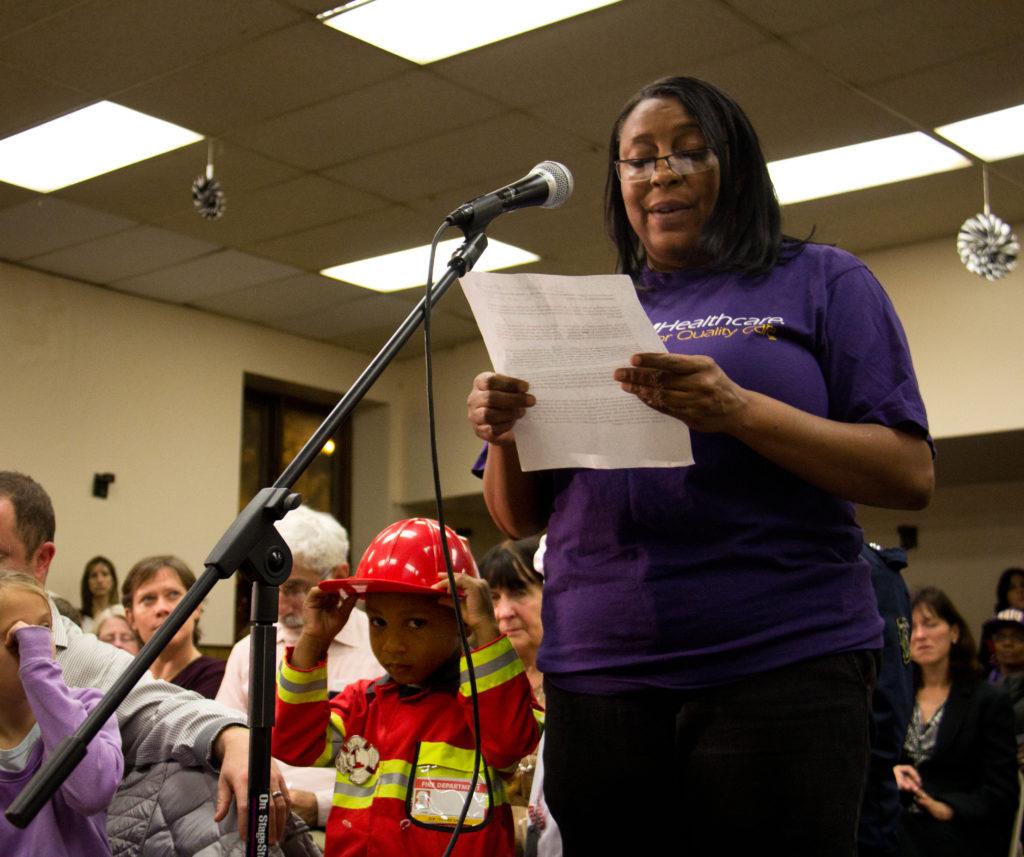 Kim Cotton testifies before the Progressive Caucus of the City Council