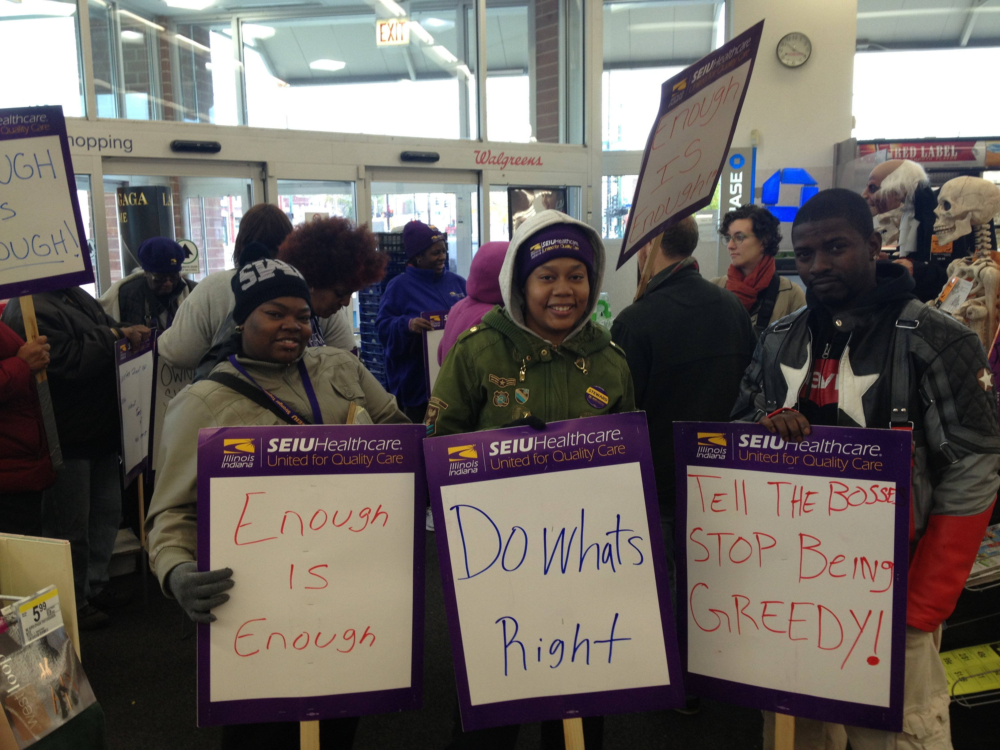 South Side of Chicago: workers call on Walgreens CEO to support the fair tax, Nov. 1, 2013