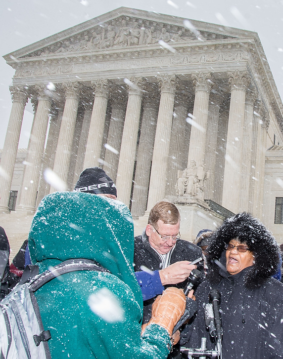Flora Johnson interviewed in the snow outside the Supreme Court after oral arguments in Harris vs Quinn; Jan. 21, 2014
