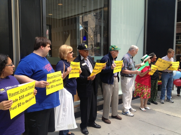 Erika Martin and community activists protest outside Bruce Rauner's campaign headquarters on the anniversary of Medicare; Rauner uses a loophole to avoid paying his fair share of Medicare taxes - 7/31/14