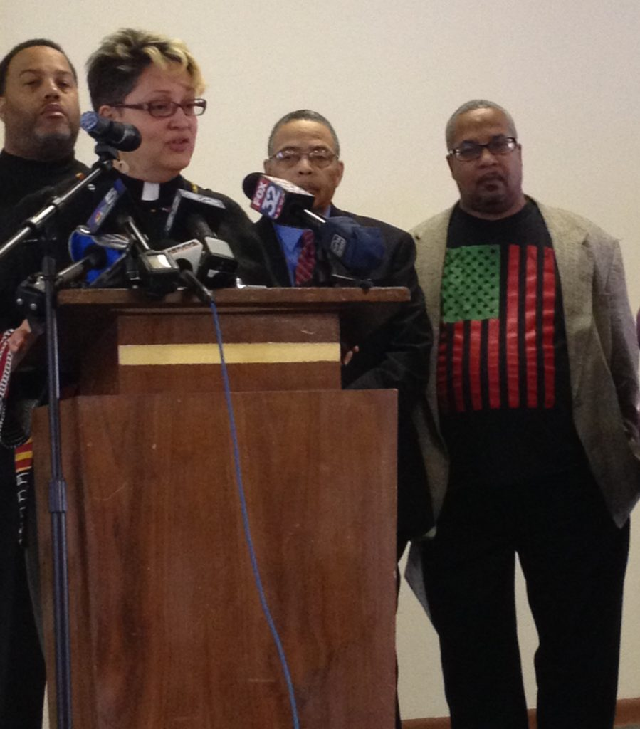 "Rev. Marilyn Pagan-Banks emcees the ""Souls to the Polls"" press conference at Quinn Chapel on Jan. 28th, 2015 to launch the faith coalition's drive for early voting in Chicago's mayoral election. Souls to the Polls is a non-partisan group."