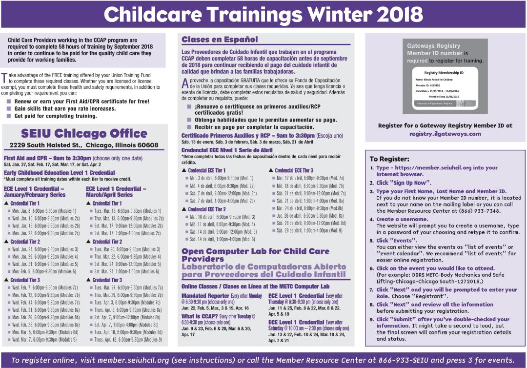 Chicago Child Care Training Winter 2018