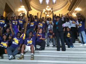 "SEIU Healthcare Missouri members celebrate the defeat of ""right to work"" legislation at the State Capitol, Sept. 16, 2015."