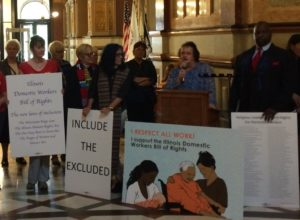 Gail Hamilton, home care leader, speaks at State Capitol press event in support of Domestic Workers Bill of Rights, Springfield, Sept. 9th, 2015.