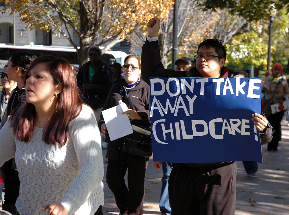 Child care providers, parents and working families rally at Lincoln Statue outside State Capitol in Springfield to call for passage of SB 570 to save CCAP program, Nov. 10th, 2015.