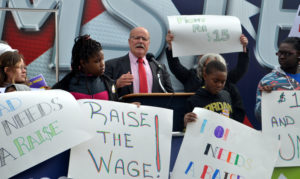 John Gregg at Minimum Wage Rally, October 22 2016