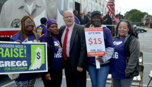John Gregg with SEIU Members, October 22 2016