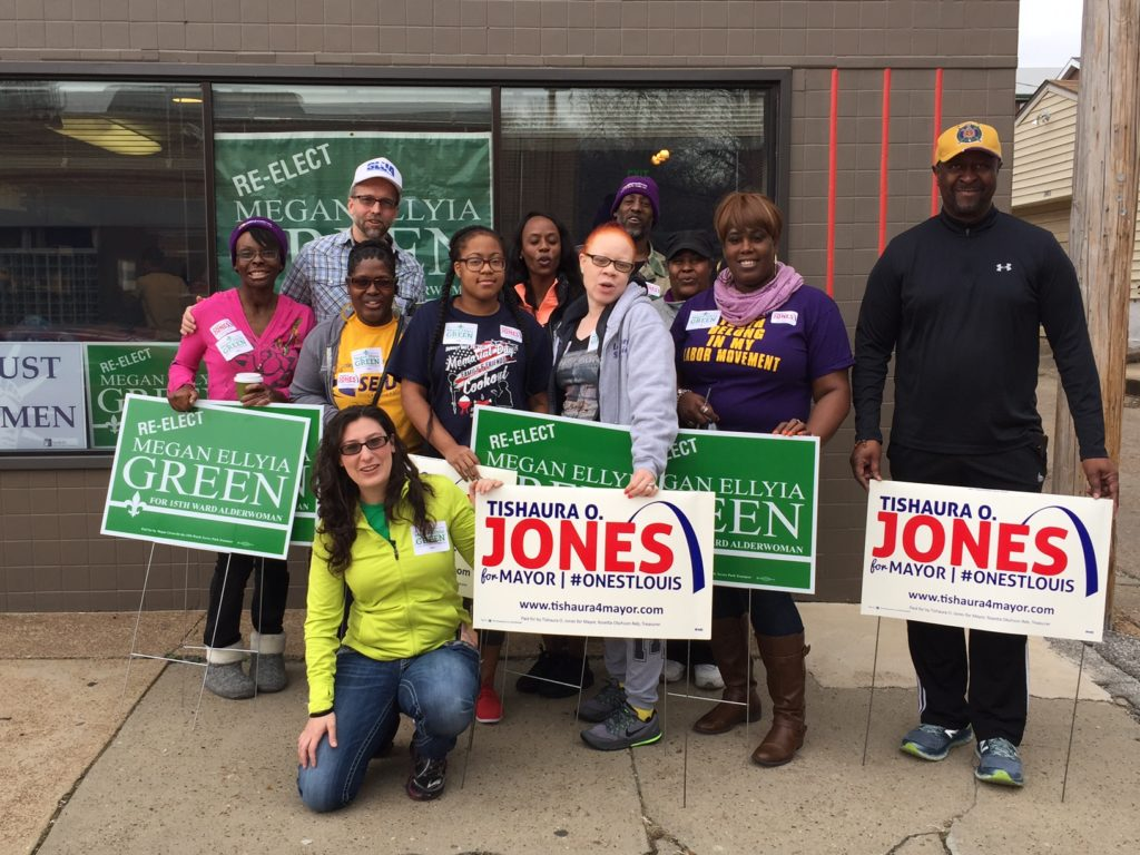 SEIU Healthcare Missouri members pausing for a photo with Megan Green before hitting the streets to talk to voters.