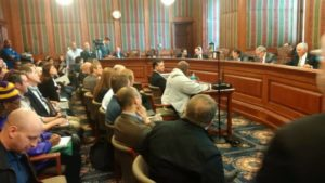 Robert Brown testifying in front of the Senate City & Municipal Government Committee about HB1193-1194.