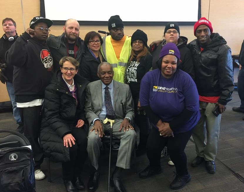 SEIU members with SEIU International President Mary Kay Henry and AFSCME Sanitation Worker Strike Organizer Bill Lucy