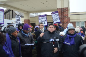 J.B. Pritzker walked the strike like and spoke at the Veracare Nursing Home strike in Berwyn in January 2018.