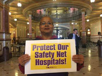 Onzell Brown, Roseland Hospital on the south side of Chicago, spoke at multiple press events at the State Capitol to demand that the Illinois Hospital Association produce a hospital assessment and new Medicaid formula that would protect safety nets.
