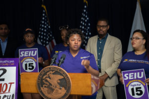 Tichina Haywood, a CNA at Swedish Covenant Hospital who earns $12.67 an hour, speaks out, '$12 an hour isn't enough! June 29. 2018).