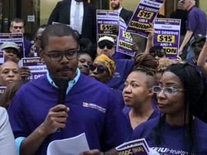 Greg Kelley, President of SEIU Healthcare Illinois Indiana, speaks outside the Illinois Hospital Association rally in downtown Chicago, July 23rd, 2018.