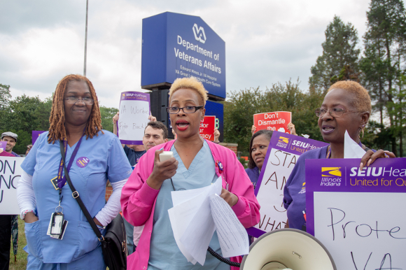 """Jeanne Harris, nursing dept at Hines VA speaks at our rally against the Trump administration's executive orders aimed to curtail federal unions, and limiting """"official time"""" by stewards to enforce contracts and hold management accountable; Aug. 21, 2018"""
