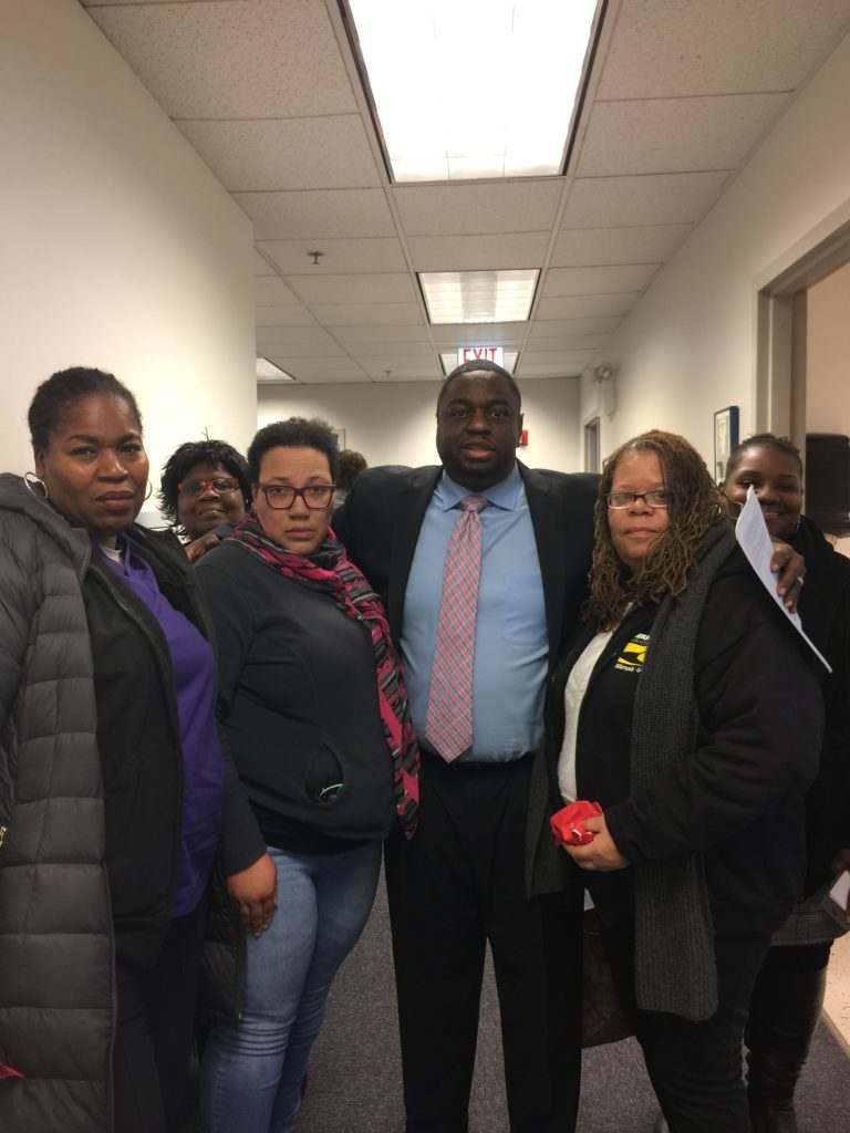 State Senator Emil Jones, III , whose 14th District represents Roseland Hospital and community, joins with SEIU hospital workers following a Hospital Transformation Hearing in Chicago on Dec. 5th, 2018