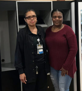 From left: Carrietta Seastrunk, a Metro South transport filed a grievance with a steward, Cassandra Latimer, a CNA at Metro South.