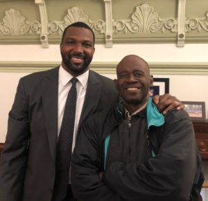George White, a dialysis patient and nursing home leader, meets with Sen. Napoleon Harris, chairman of the Insurance Committee, to push for legislation to hold dialysis industry accountable.