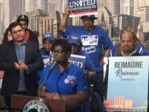 Le Chrisha Pearson, Mt. Sinai CNA, speaks at City Hall presser for Reimagine Chicago event, May 16, 2019.