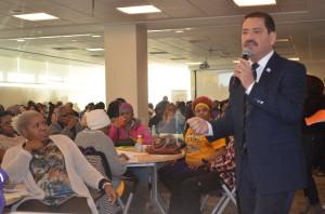 """Cook County Commissioner Jesus """"Chuy"""" Garcia speaks to SEIU HCII members at year beginning meeting Sat, 01/17/15"""
