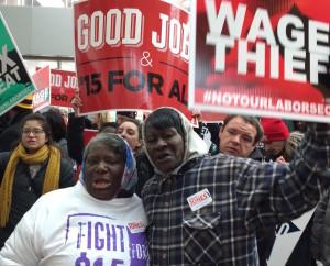 Elinor Simmons and Alice Allen protesting puzder