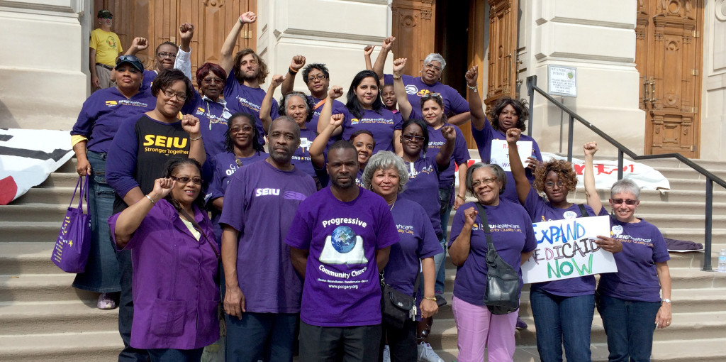 Members at the statehouse after rally with Rev. Barber and the Moral Mondays Movement.