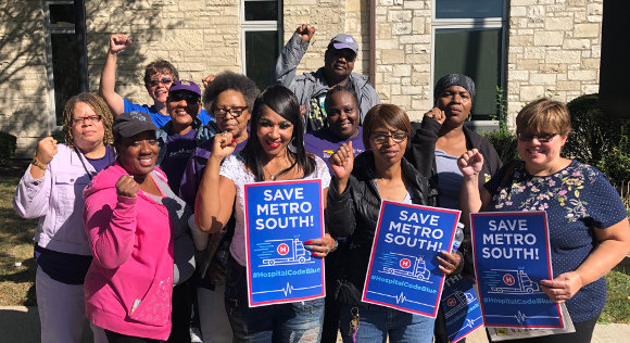 MetroSouth Medical Center workers rally to stop Quorum Health from shutting down community hospital; Sept. 14, 2019.