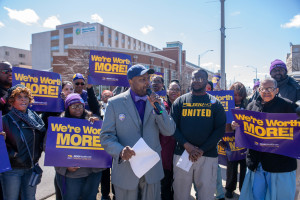 "Metro South Medical Center workers rally for a fair contract and call a ""code blue"" on the hospital industry; in Blue Island, April 12th, 2019."