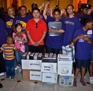 We delivered more than 12,000 postcards to Gov. Pat Quinn, from Illinois residents who oppose budget cuts to Medicaid, Medicare, child care, and home care.