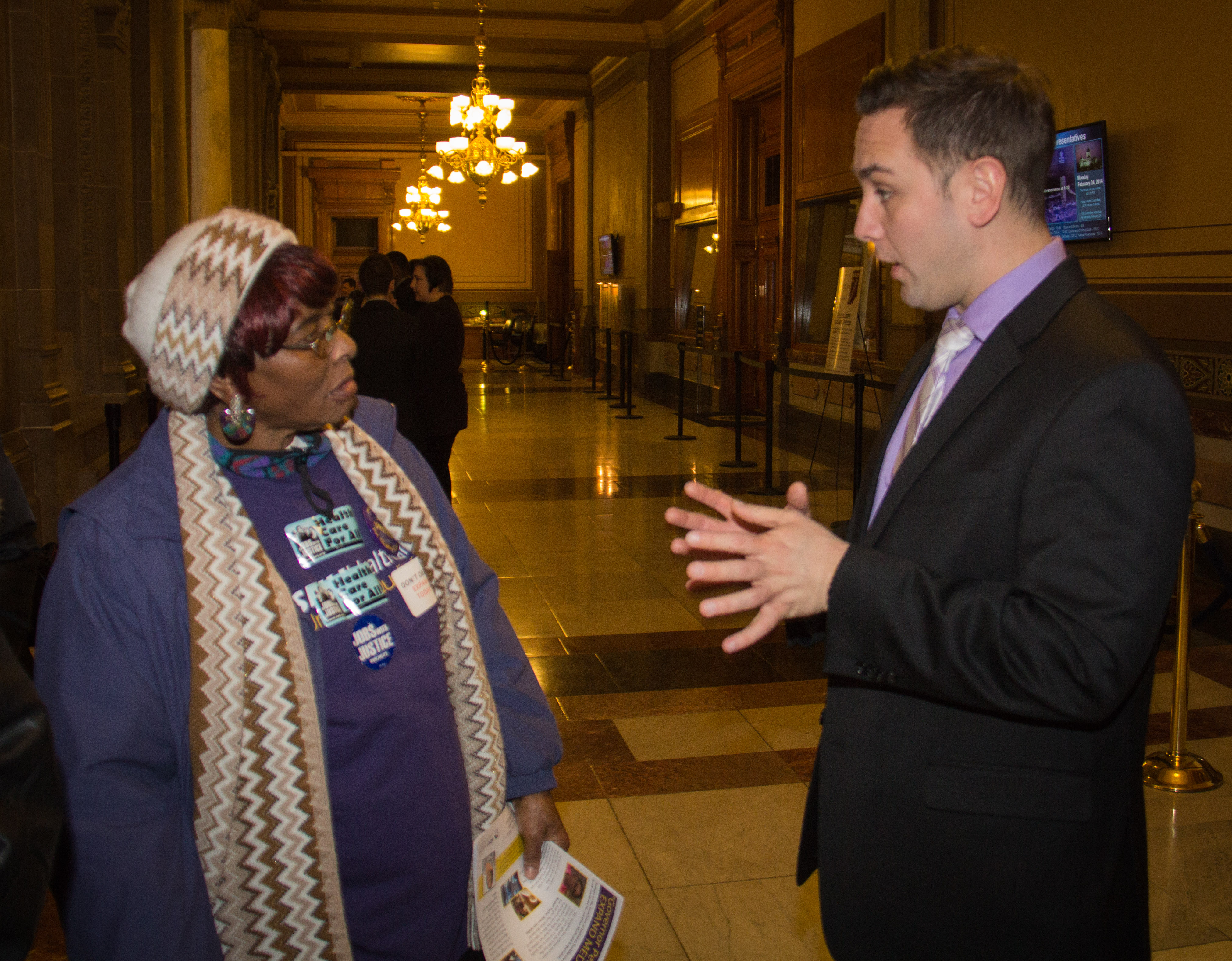 Home care worker Eartha Coleman got to address her state Representative, Dan Forrestal, directly.