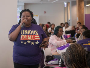 (Lakesia Collins speaks to fellow nursing home workers about why she is running for State Rep in Chicago to end poverty wages and demand for more investment in West Side).