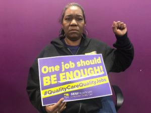 (Shantonia Jackson, CNA and steward at City View Nursing Home, also works at Berkeley Rehab)