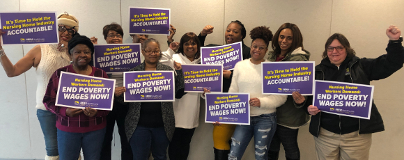 """(Feb. 1st, 2020: At our nursing homes monthly membership meeting workers commit to """"ending poverty wages"""" by the nursing home industry as our association master contract expires May 1st of this year)."""