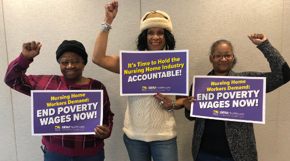 (Leaders from Sheridan Village from left: Forestine Pressey, Ward Clerk; Deborah Johnson, CNA; and Latoya Williams, Receptionist).